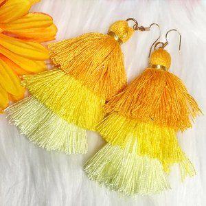 NEW! Boho Earrings Tassel Fringe Dangles Yellow